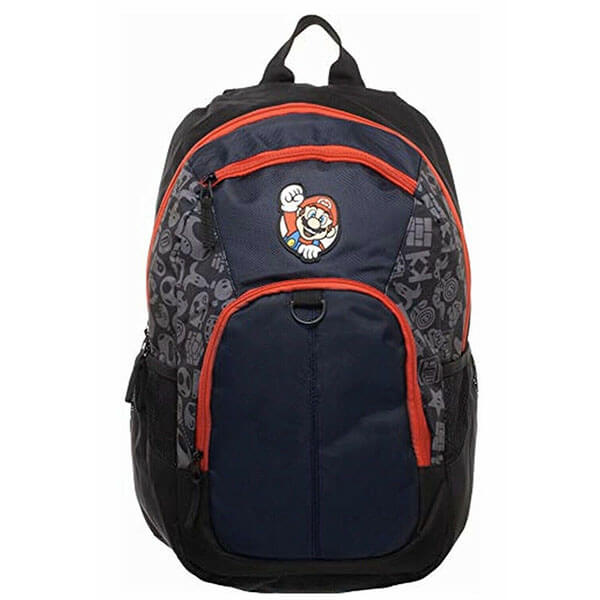 Black Mario Backpack with Orange Lining