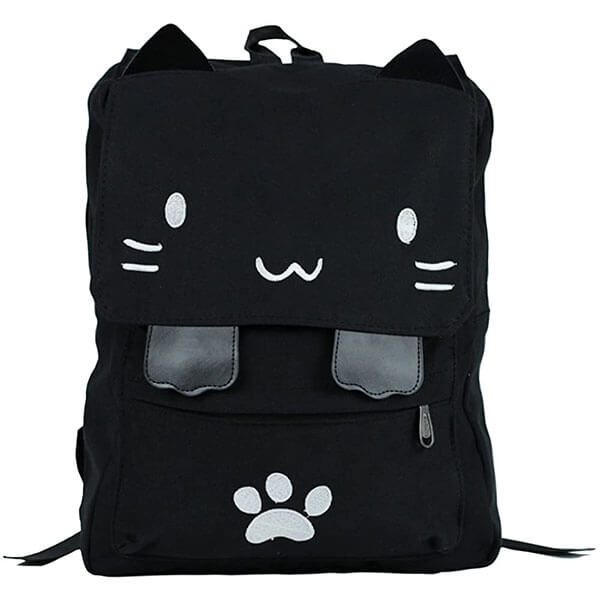 Cat Embroidery Backpack with Pawprint