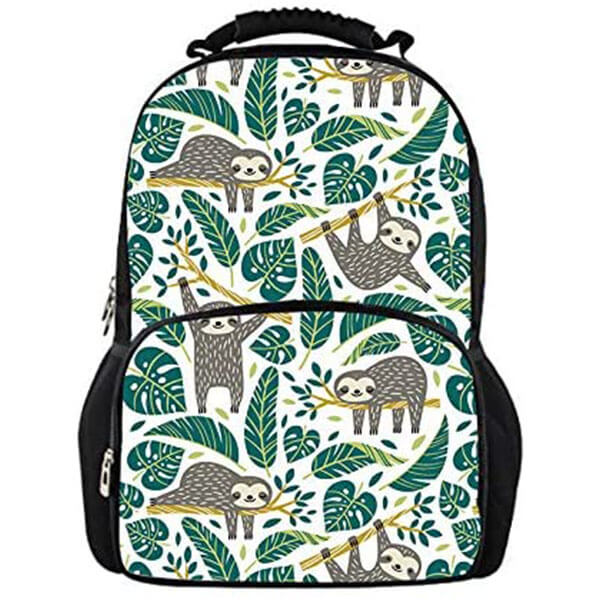 Tropical Sloth Lightweight Leaf Print Backpack