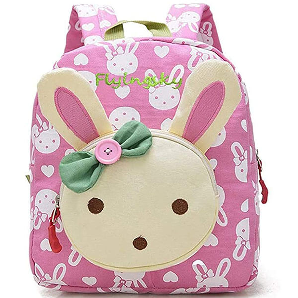 Bunny 3D Backpack with Green Button Bowknot