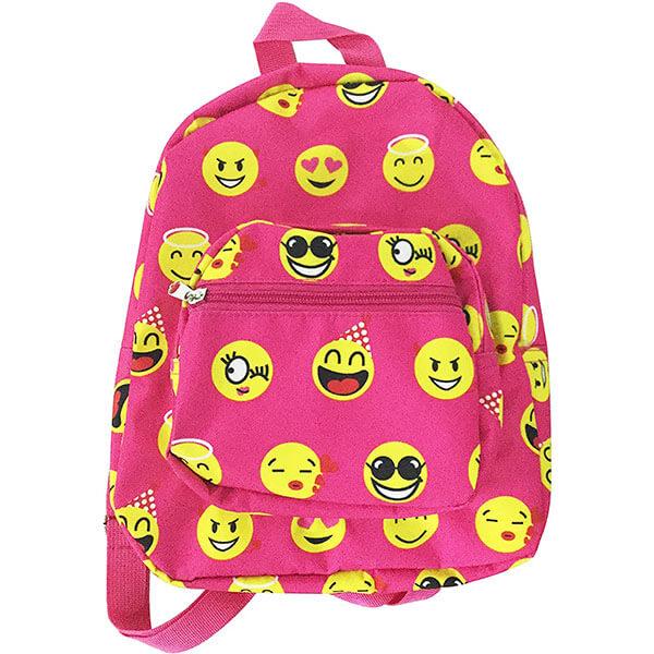 Hot Pink Emoji Patterned Mini Backpack