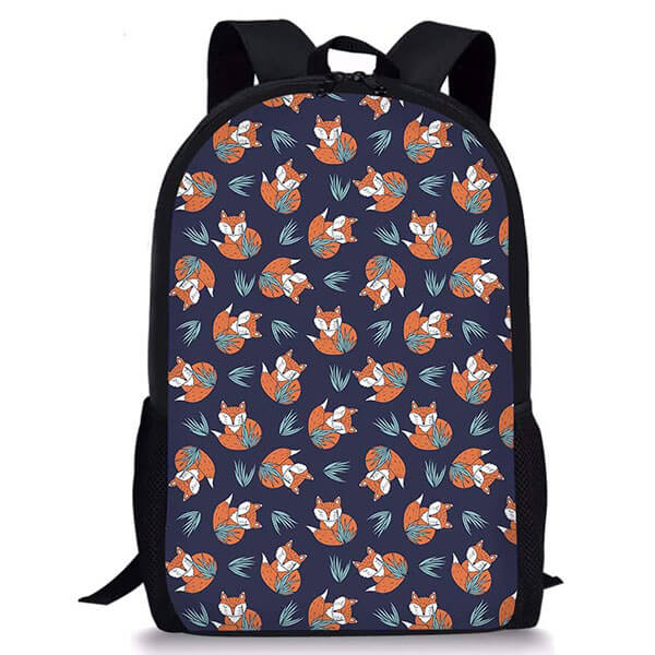 Fox Playing with Grass Polyester Backpack
