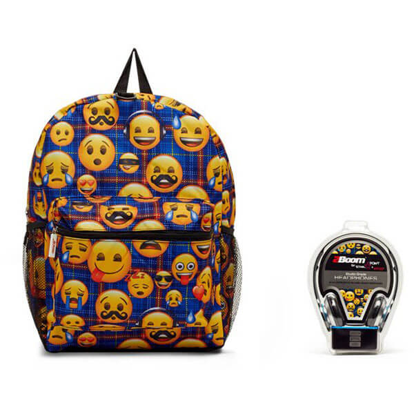 Emoji Blue Plaid Backpack with Headphones