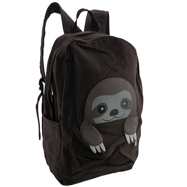 Peeking Baby Sloth Canvas Boys Backpack
