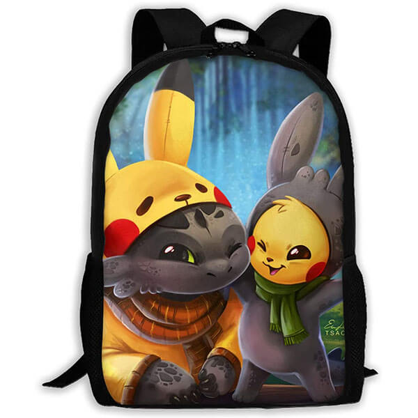 Toothless- Pikachu Backpack with Lunch Bag