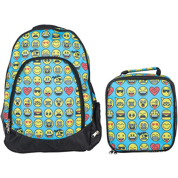 Sky Blue Emoticon Backpack Set