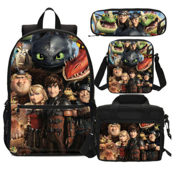 Vikings with Dragons Backpack with Body Bag, Lunch Bag, and Pen case