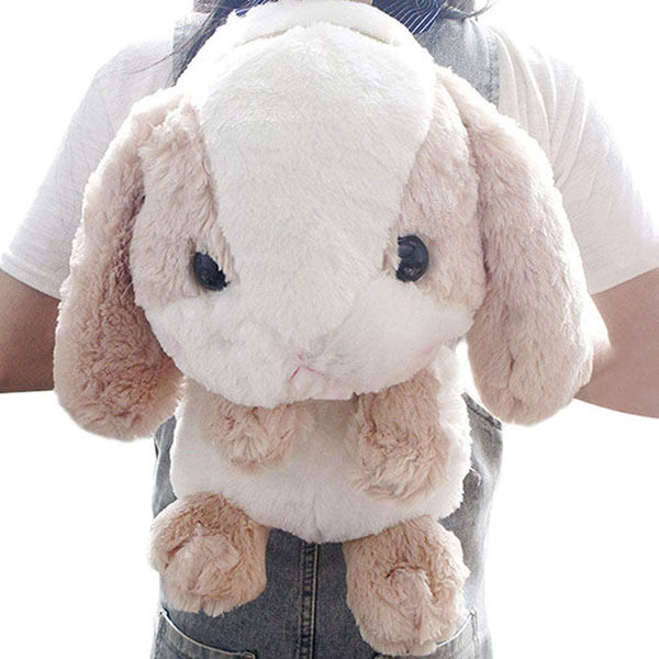 Stuffed Toy Rabbit Backpack with Black Eyes