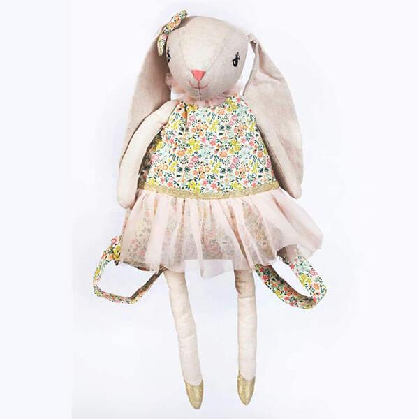 3D Bunny White Linen Cartoon Backpack