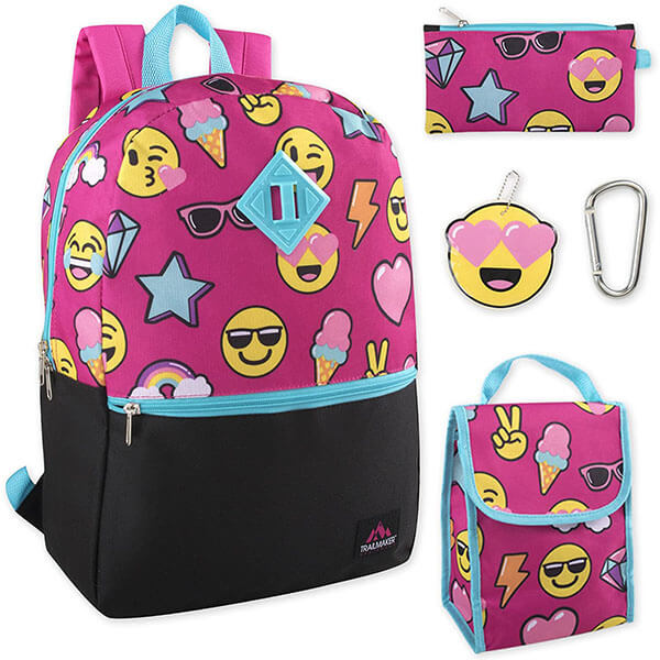 5in1 Sturdy Backpack with Smiley Faces
