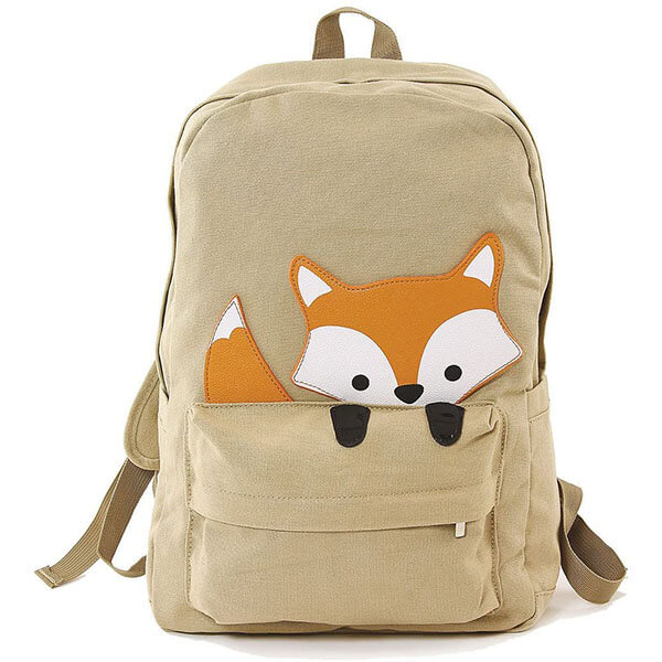 Peeking Baby Fox Canvas Backpack
