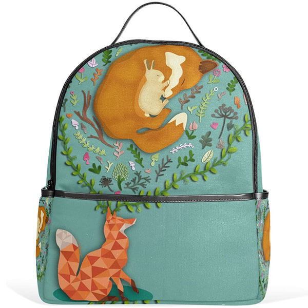 Turquoise Fox and Rabbit Backpack