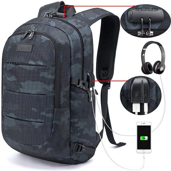 Password Lock Feature Camouflage Backpack