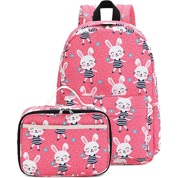 All Over Rabbit Print Backpack with Lunch Box
