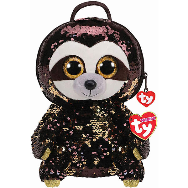 Reversible Sequins Sloth Backpack with Tassel Pulls