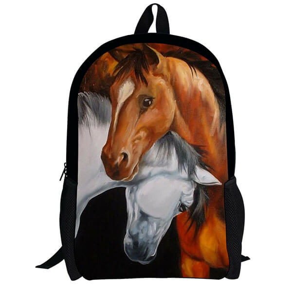 Cool Brown And White Horse Backpack for Adolescents