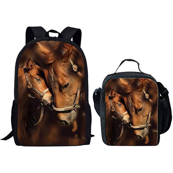 Heat-Resistant Horse Backpack with Lunch Bag