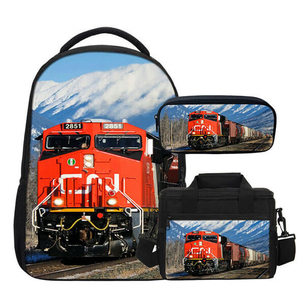 Retro Train in the Mountains Book Bag