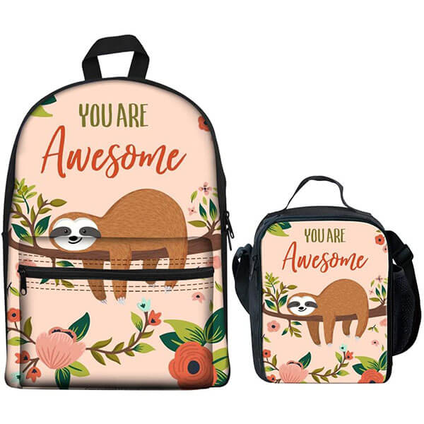 Sloth in Floral Feel Awesome Backpack Set
