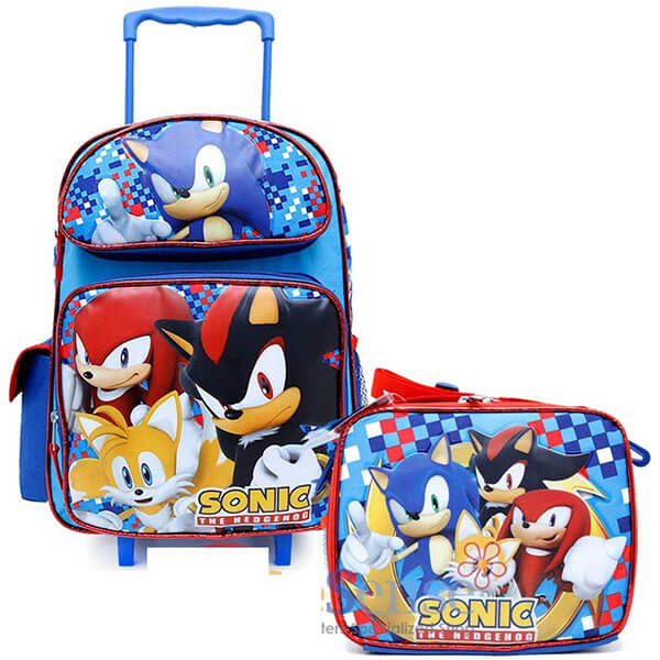 All Sonic Characters Trolley Backpack and Lunch