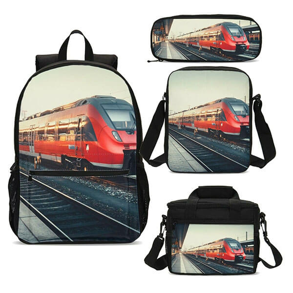 Red Commuter Train Backpack