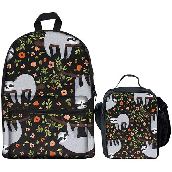 Sleep Sloth on Tree School Backpack Set