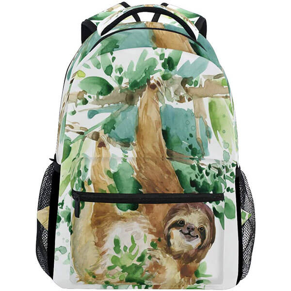 Watercolor Hiking Camping Sloth Backpack