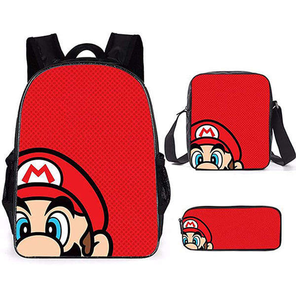 Red Super Mario 3 Piece Backpack Package