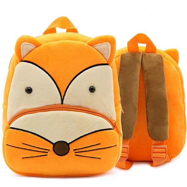 Vibrant Soft Orange Plush Fox Backpack