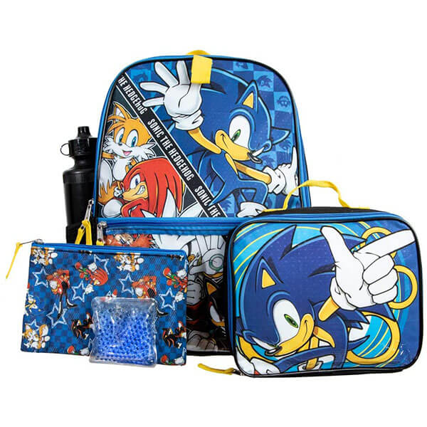 5 Pieces Backpack Featuring Sonic Theme