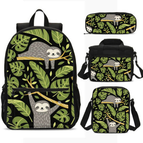 Cooler Green Leaf 4-Pc Sloth Backpack Lot