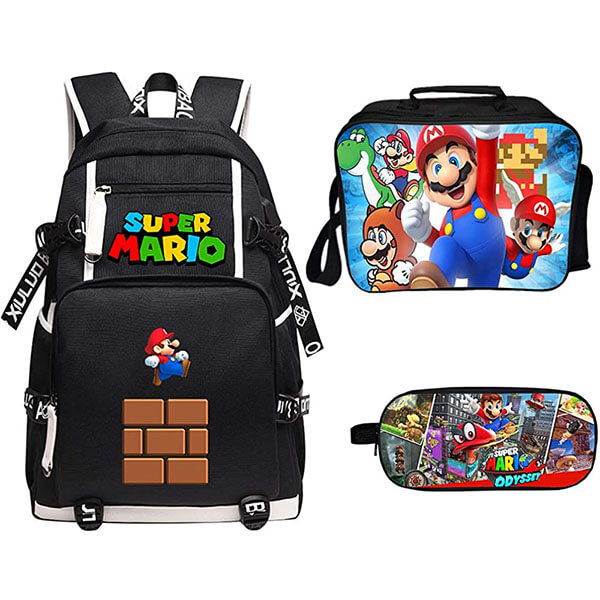 Running Mario School Backpack Full Set