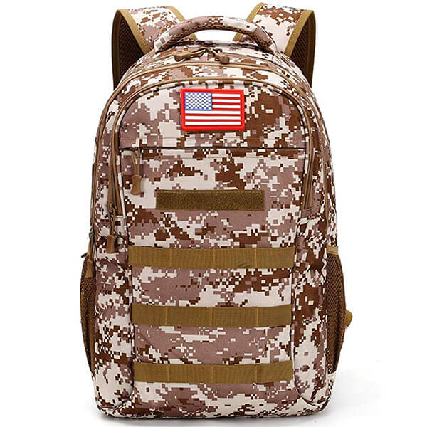 Multifunctional Webbing Hole Camo Backpack