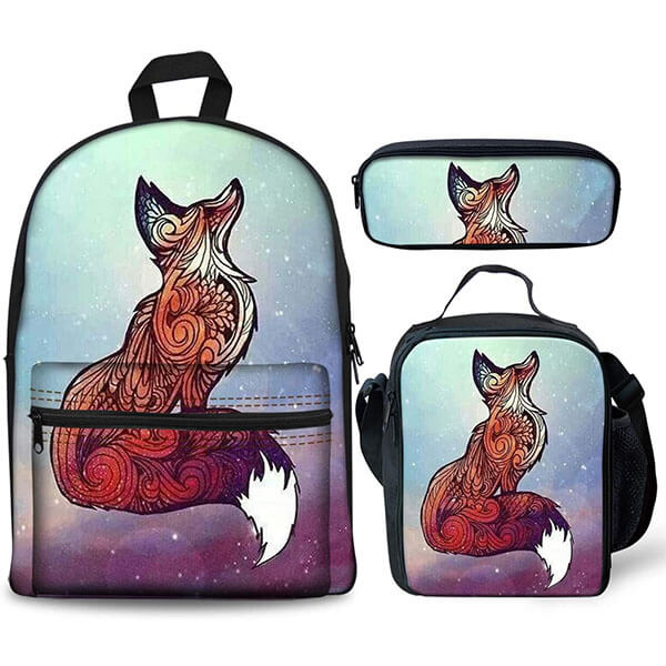 Space Themed Animal Fox Backpack Set