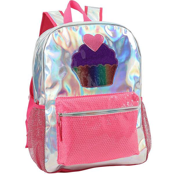 Nylon Backpack with Glitter Cupcake