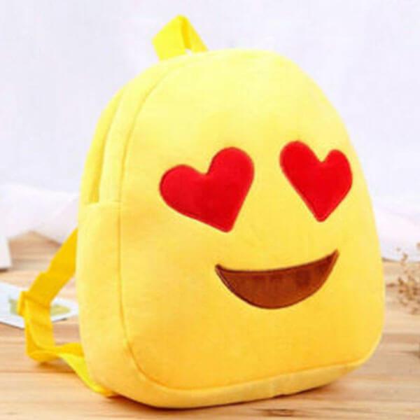 Plush Emoji Bookbag with Heart Eyes