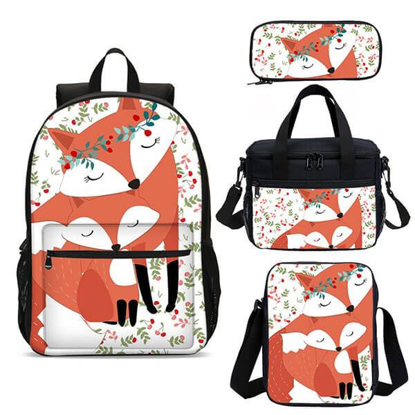 Ergonomic Flower Fox Backpack for College