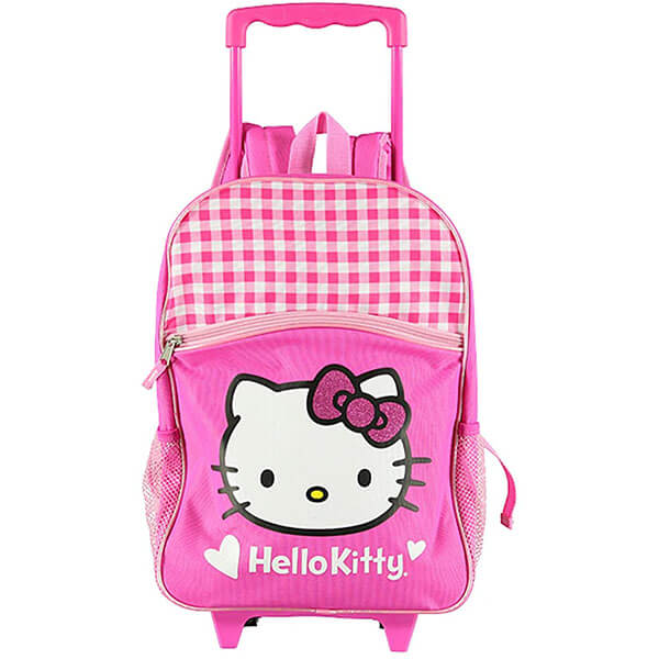 White Pink Check Rolling Backpack