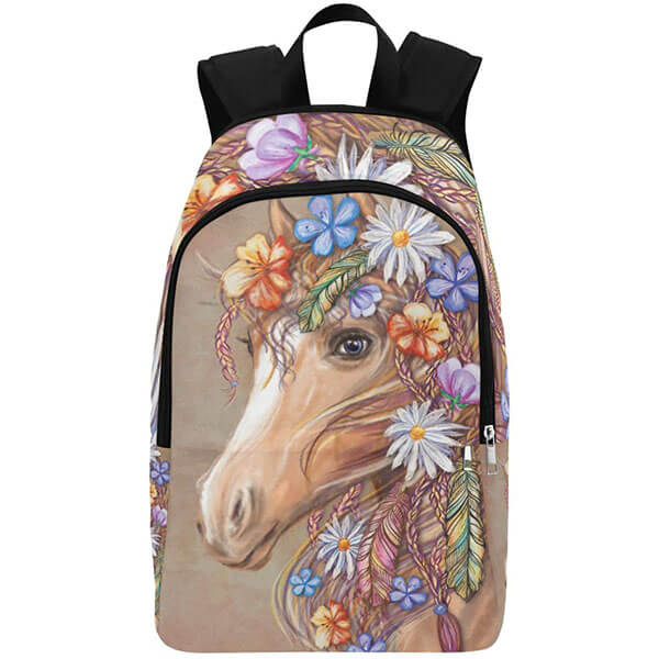 Animal Themed Floral Casual Backpack