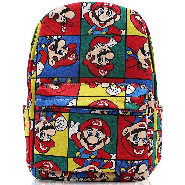 Canvas Cute Mario Shaped Backpack
