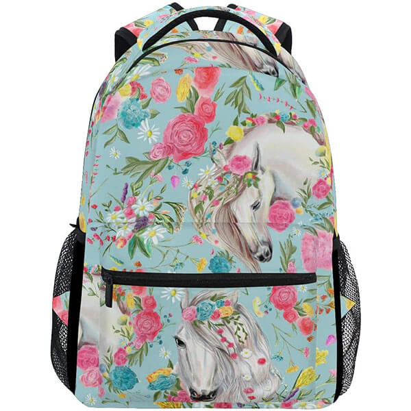 Colorful Flower Polyester Horse Backpack