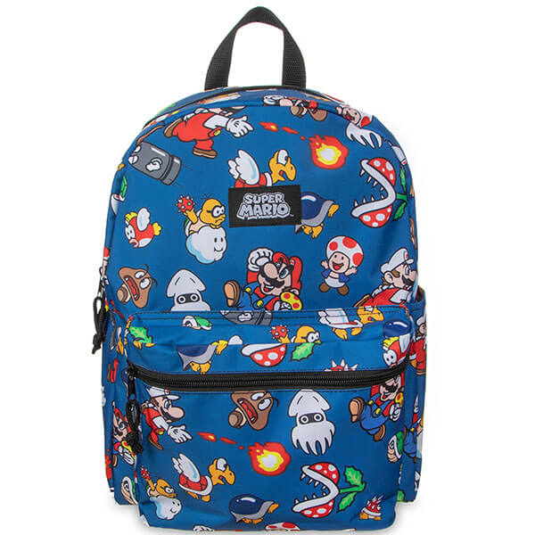 Blue Printed Super Mario Backpack for Boys