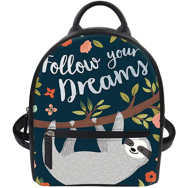 PU Leather Purse Sloth Pattern Backpack