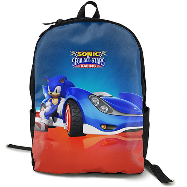 Cute Sonic Backpack with Racing Car Print