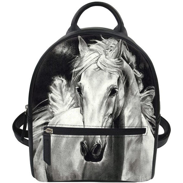 Black Leather Horse Mini Backpack