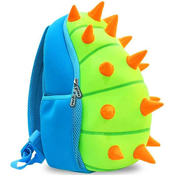 Dinosaur Backpack with Blue and Neon Spikes