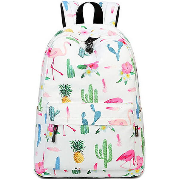 Flamingo Cactus Floral Print Backpack