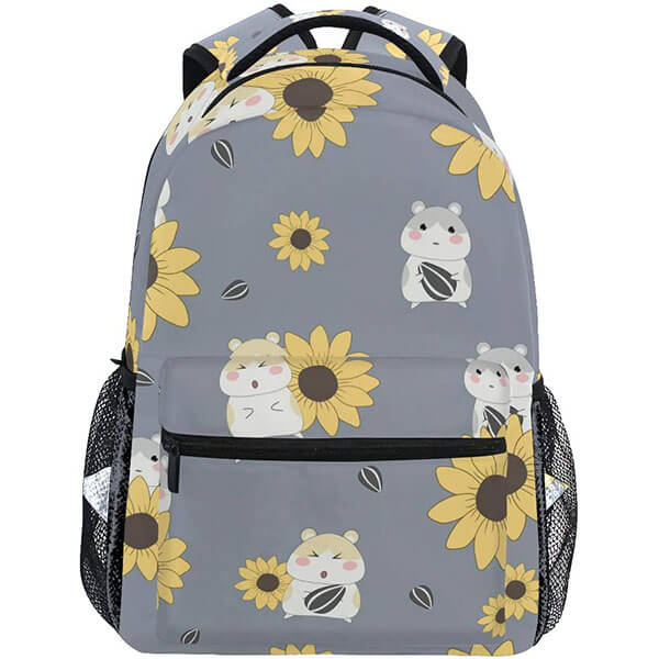 Cute Hamster and Sunflower Print Backpack