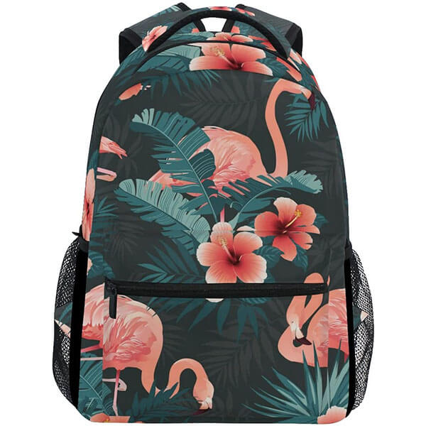 Leaves with Flowers Print Flamingo Backpack