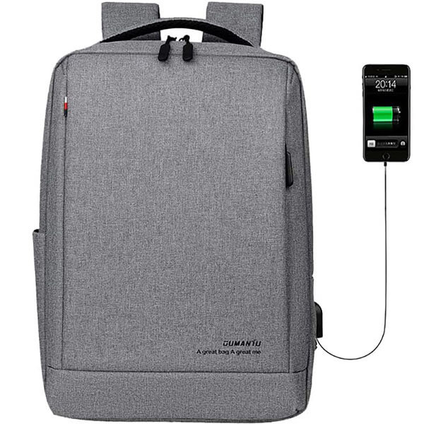 Oxford Gray Slim Business Travel USB Charging Backpack